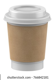 3D rendering mock-up Plastic cup with lid and kraft coffee sleeves for hot coffee, milk tea, cocoa, chocolate