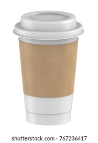 3D rendering mock-up Plastic cup long size with lid and kraft coffee sleeves for hot coffee, milk tea, cocoa, chocolate