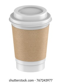 3D rendering mock-up Plastic cup M. size with lid and kraft coffee sleeves for hot coffee, milk tea, cocoa, chocolate