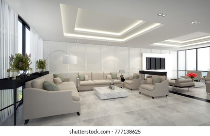 3D rendering of moddern luxury lounge and living room interior design and wall pattern background and Lcd tv