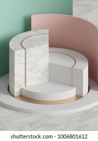 3d rendering, modern abstract geometric background, minimalistic empty showcase, art deco, primitive shapes, shop display, pastel colors