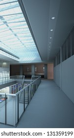 A 3D rendering of modern architecture interior