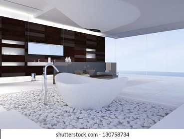 A 3D rendering of modern bathroom
