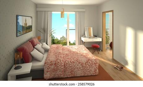 3D rendering of a modern cozy bedroom