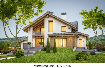 3d rendering of modern cozy house in chalet style with garage for sale or rent with large garden and lawn. Clear summer evenig with soft sky. Cozy warm light from window
