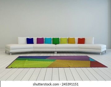 3D Rendering of Modern curved white couch with colorful cushions in the colors of the rainbow or spectrum with a matching multicolored carpet on a painted white parquet floor, grey wall behind