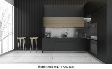 3d rendering modern dark wood kitchen with winter view