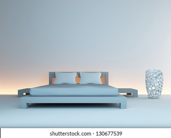 A 3D rendering of modern double bed