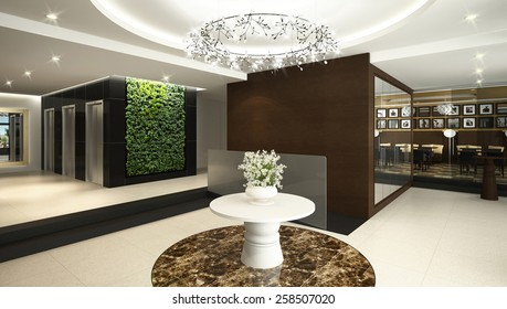 3D rendering of a modern hotel lobby