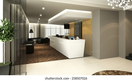 3D rendering of a modern hotel reception and lobby bar