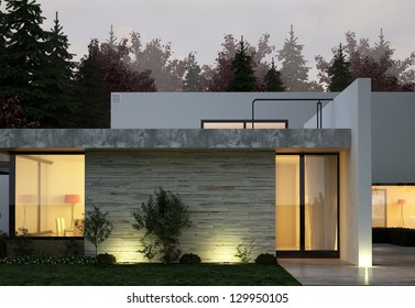A 3D rendering of modern house facade at night