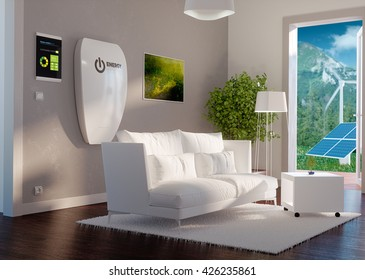 3d rendering of modern house interior with independent energy storage battery system.