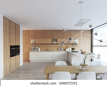 3D rendering of modern kitchen in a loft.