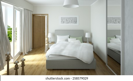 3D rendering of a modern light colored bedroom