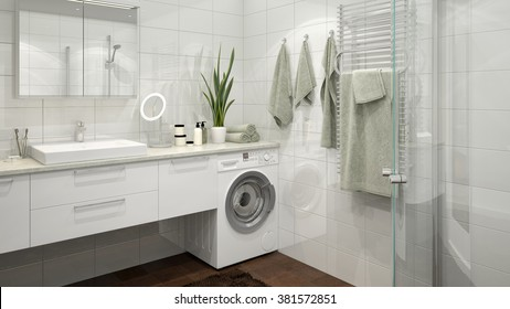 3D rendering of a modern light colored bathroom