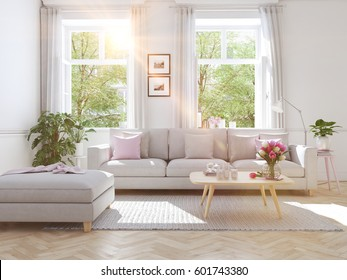3d rendering. modern living room in townhouse.