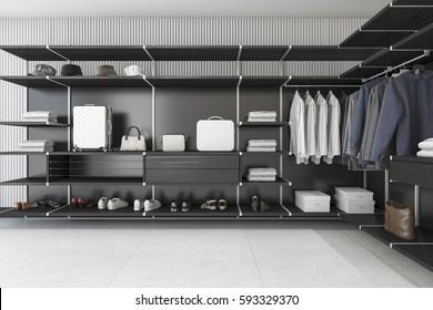 3d rendering modern loft black walk in closet with shirt and dress