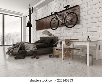 3D Rendering of Modern Loft Style Bedroom in Apartment with Exposed Brick Wall, Desk, and Bicycle Hanging Up