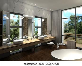 3D rendering of a modern luxurious bathroom