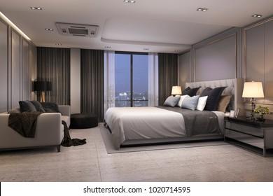 3d rendering modern luxury bedroom suite at night with cozy design