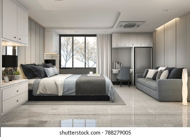 3d rendering modern luxury blue bedroom with marble decor