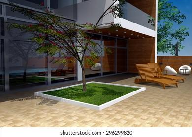 3D rendering of modern mansion, backyard detail