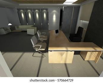 3d rendering modern office interior