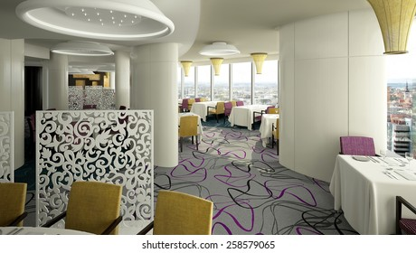 3D rendering of a modern restaurant interior