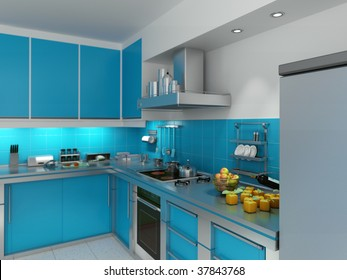 3D rendering of a modern spacious kitchen in turquoise and chrome