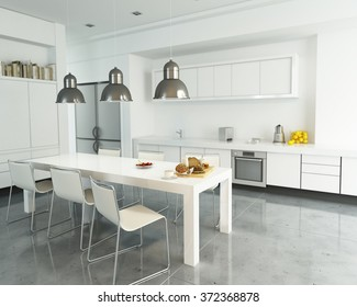 3D rendering of a modern spacious white kitchen