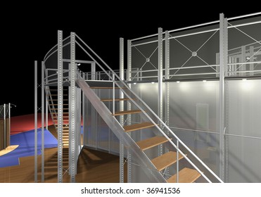 3D rendering of modern staircase