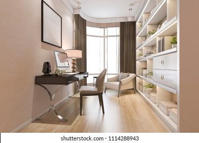 3d rendering modern wood minimal working room