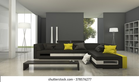 3d rendering modern yellow and black fabric sofa in bright living room