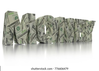 3D rendering of MONEY word wrapped around with 100 USD banknotes over white background