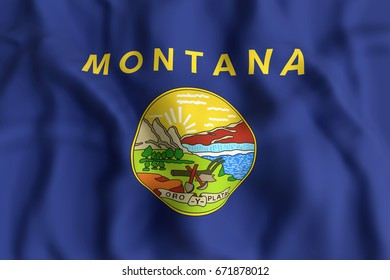 3d rendering of a Montana State flag.