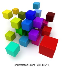 3D rendering of a multicolored cubic background