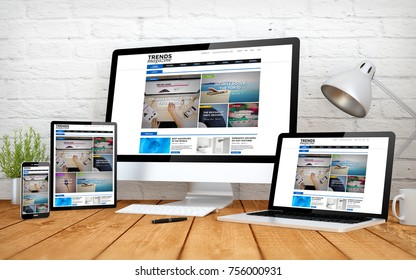 3d rendering with multidevices with emagazine responsive design website