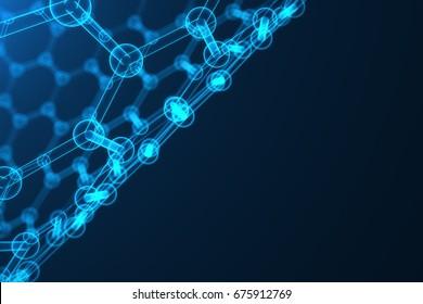 3d rendering nanotechnology, glowing hexagonal geometric form close-up, concept graphene atomic structure, concept graphene molecular structure