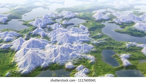 3d rendering nature terrain landscape