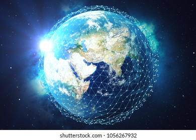 3D rendering Network and data exchange over planet earth in space. Connection lines Around Earth Globe. Blue Sunrise. Global International Connectivity. Elements of this image furnished by NASA