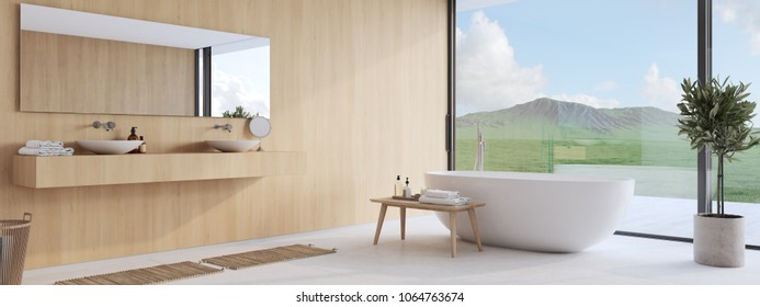 3D rendering. new modern bathroom with a nice view.