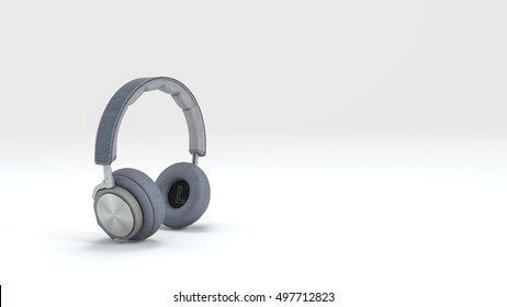 3d rendering nice blue headphone isolate in white background