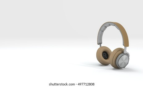 3d rendering nice brown headphone isolate in white background