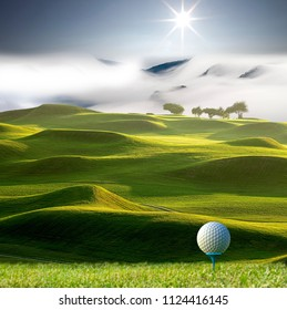 The 3d rendering of nice view of golf ball on the holder with golf field