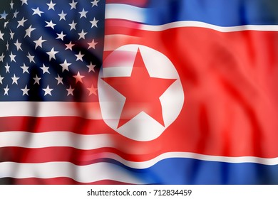 3d rendering of North Korea and United States of America flags. Concept of nuclear conflict.