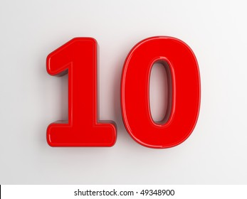 3d rendering of the number 10