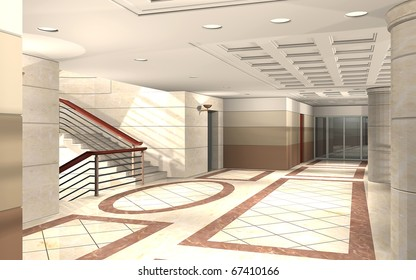 3D rendering of an office building hallway