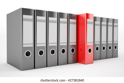 3D rendering of an office ring binders (with a red binder in the middle)