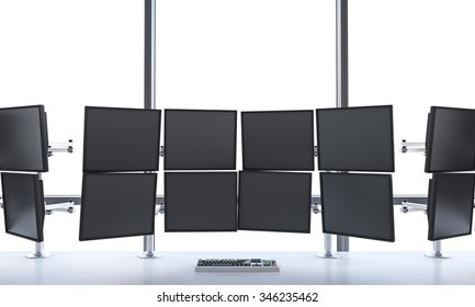 3D rendering of office with switched off monitors, processing data for trading, window at the background,