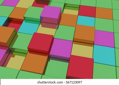 3d rendering of a lot ofl colorful cubes.